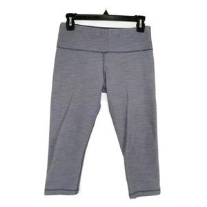 Lululemon 6 Wunder Under Crops Coal Fossil Slub
